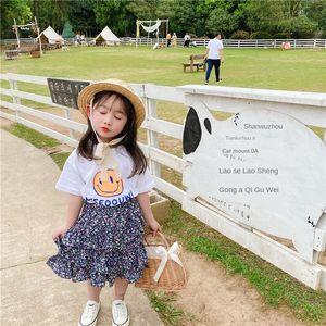 TAO.CATkids 2020 new girls Smiley printed dress T-shirt princess dress short-sleeved T-shirt + floral princess skirt