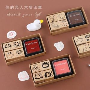 TUNACOCO Stamp Jogo bonito do selo Sighnet Com Inkpad animal Selo de madeira Jornal DIY Artesanato Qt1710133 TJb8 #