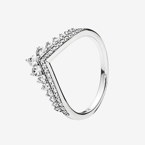 Princess Wish Ring Women Wedding Jewelry with Original box for Pandora 925 Sterling Silver CZ Diamond Rings set High quality