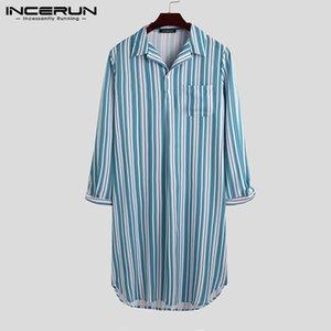 INCERUN Striped Men Sleep Robes Homewear Long Sleeve Lapel Comfortable Leisure Sleepwear Nightgown Dress Cozy Bathrobes S-5XL