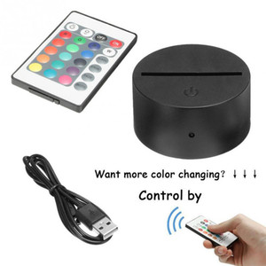 RGB Lights LED Lamp Base 3D Illusion Lamp 4mm Acrylic Light Panel Dry Battery USB Powered Remote Controller
