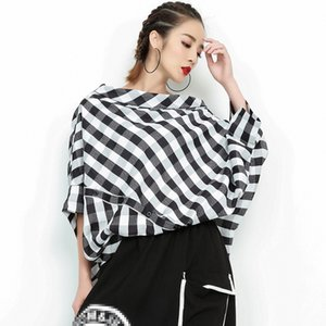 LANMREM 2020 Summer Women's New Slahs Neck Lattice Shirt Loose Large Size Personality Irregular Half Sleeve Blouse Tops YG672