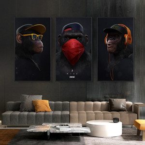 3 painéis Pensando Macaco com auscultadores Canvas Oil Painting Wall Art animais engraçados Posters Prints Pictures para Living Room Home Decor