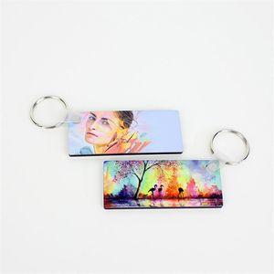 Blank Sublimation Keychain transfert revêtement de transfert de chaleur en bois blanc Peinture Pendentif bricolage Porte-clés Cadeaux de mariage