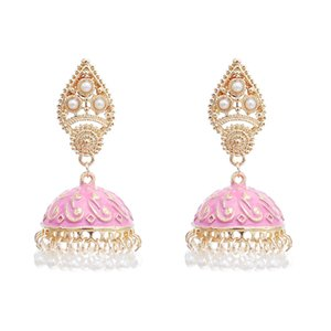 Retro Style with Imitation Pearl Beads and Colorful Enamel Bell Tassel Dangle Earrings for Women Party Jewelry