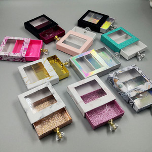 Cristal Handle Praça Lash Box cílios falsos Embalagem Box Falso 3D Mink cílios caixas vazias Diamante Magnetic Caso RRA3287