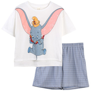 Women Summer cotton short sleeved cartoon pajama sets t -shirt with shorts girls home wear clothes two pieces suit sleepwear Y200708