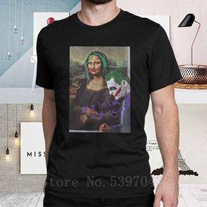 Joker Mona Lisa Camisetas Ela tem um burro quente do vintage camiseta do homem Manga Curta presente de aniversário do algodão camisetas Roupa Pure