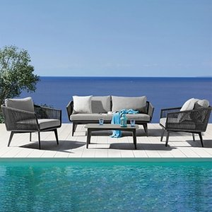 2019 New klassische Art Patio Seil Möbel Garten Modernes wasserdichtes Outdoor-Sofa