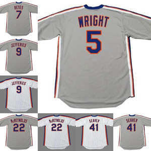 Maglia di baseball dei New York 5 David Wright 7 Jose Reyes 9 Gregg Jefferies 41 Tom Seaver 29 FRANK VIOLA 22 Ray Knight 13 Lee Mazzilli STAUB