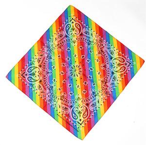 Colorful Rainbow Bandane fresco cotone fazzoletti rossi Arancione Giallo Verde Blu Viola 6 colori a righe stampato Foulard sciarpa magica
