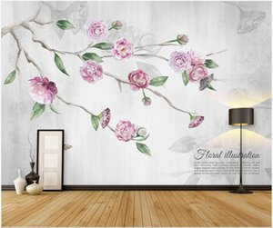3d wallpaper stickers custom photo Nordic hand-painted watercolor flower branch sofa TV background wall 3d mural paper photo wallpaper 3d