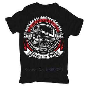 Benzin Im Blut Motorrad Bikes Biker Rocker Mc Oldschool T-Shirt Mens Fashion Round Neck Clothing Short Sleeves T Shirts