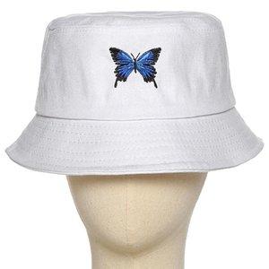 #H30 2020 Butterfly Embroidery Bucket Hat Men Women Hip Hop Fishing Cap Adult Bucket Cap Hat Summer Couple Flat Cotton