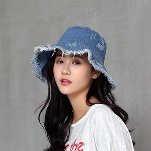 Summer Sun Hats For Women Fisherman Cap Women's Washed Denim Bucket Hat Ladies Wide Brim Tassel Beach Caps Cotton Bone