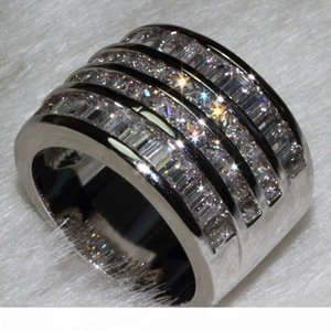 Wholesale Jewelry Free Luxury Jewelry Princess Cut 10ct Topaz Diamonique 10KT White Gold Filled Wedding Engagement Band Women Ring Size 6-9