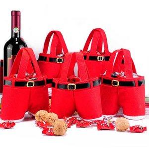 10PCS Christmas Handbag Candy chocolate Bag Santa Claus Pants Trousers Gift Bags package Christmas Decoration Supplies