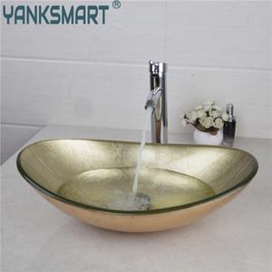 YANKSMART Yellow Oval Glas Washroom Basin Schiff Vanity Waschbecken Badezimmer Mixer Basin Waschbecken Messingchrom-Hahn-Satz w / Drain