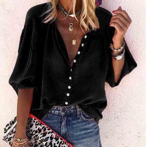 Women's Blouses & Shirts 2021 Spring Autumn Women Button Befree Boho Ruffles Long Full Sleeve Casual Chiffon Big Large Pluse Sizes Tops