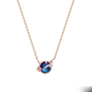 925 Sterling Silver Fantasy Starry Sky Blue Zircon Pendant Necklaces Clavicle Chain for Women Wedding Party Jewelry Gifts