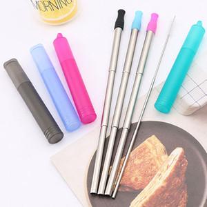 304 Paslanmaz Çelik Teleskopik Straw 4 Renkler Taşınabilir Metal Payet ile Temizleme Fırçası Silikon İpuçları Payet BH3847 TQQ İçme yeniden kullanılabilir