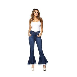 Boyfriend-Jeans für Frauen Neun-Punkt-Microhorn Quaste Broad Beine Trim dünne Jeans Stretch Plus Size mit hohen Taille
