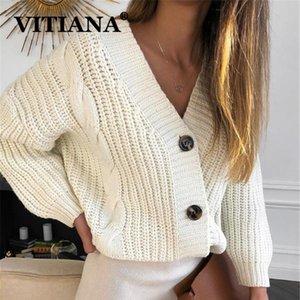 VITIANA jersey de punto Mujer Otoño 2019 femenino ocasional del botón de manga larga Chaqueta de punto suéteres de la capa Femme invierno caliente Y200722
