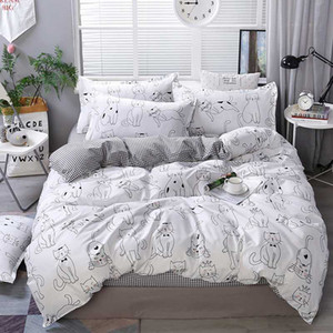 2020 White cat bedding sets cartoon Duvet Cover sets bed flat Sheet Pillowcase single twin full king Luxury fashion bedclothes
