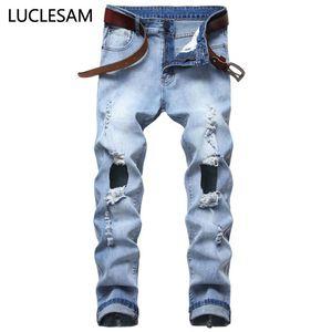 Destroyed Big Holes Jeans for Men Casual Elastic Mens Denim Pants Skinny Fit Jeans Streetwear Stretchy Motor Biker Trousers 42