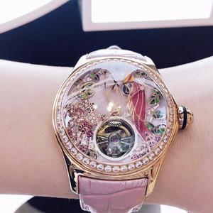 2020 Reef Tiger / RT Женская Дизайнерская Часы Алмазный Автоматический Tourbillon Часы Кожаный ремешок Relogio Feminino RGA7105
