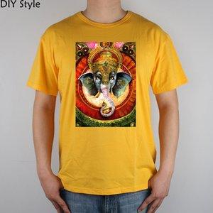 Trippy Ganesh Art изображения футболки Top Lycra хлопка Мужчины майка Новый DIY Стиль