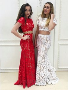 2 Pieces Prom Dresses Full Lace Short Sleeve High Neck Mermaid Floor Length Women Evening Party Fomal Occasion Gowns