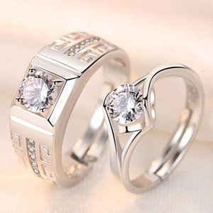 2Pcs pair silver plated classic resizeable Couple wedding engagement Rings crystal adjustable Rings Valentine Gift wholesale