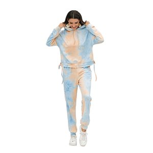 Womens Tie Dye Tracksuits Casual Long Sleeve Hooded Top Ankle Length Pants Womens Two Piece Outfit Set