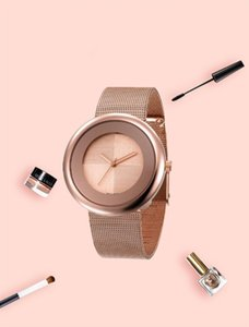 Luxury net belt women's watch fashion women's quartz clock silver rose gold gold gold