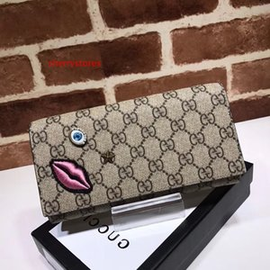 2020 Top Quality Celebrity design Letter embossing Lips Eyes Star embroidery wallet Cards Pack Canvas Leather 428736 Purse Clutch