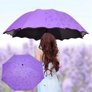 50pcs / серия Зонтик Anti-UV Umbrella Зонт Зонт Magic Flower Dome Солнцезащитный Портативный 3-Сложенные Пыле для лета женщин
