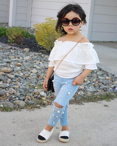 Summer fashion girls suits pearl girls outfits Blouse Tops+Hole Jeans 2pcs set kids designer clothes girls sets kids clothes