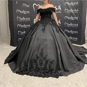 Gothic Design Black Beads Lace Wedding Dresses Ball Gown Off the Shoulder Short Sleeve Corset Back Bridal Gowns Custom Size