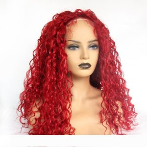 yaopoly Long lace front wig for women Red kinky curly synthetic wigs African American natural hairline Cosplay