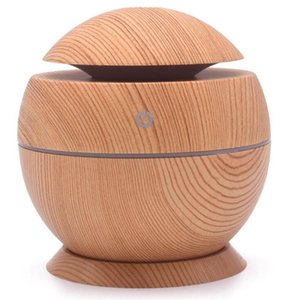 Wood Grain Essential Humidifier Aroma Oil Diffuser Ultrasonic Wood Air Humidifier USB Mini Mist Maker LED lights For Home Office H132 08