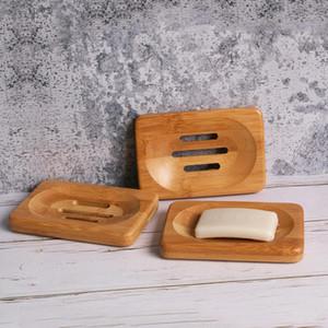 Savon Bois bambou naturel vaisselle Porte de stockage Salle de bains ronde vidange savon boîte rectangulaire carrée écologique Porte-savon Plateau en bois DHD607