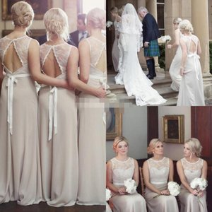 Champagne Bridesmaid Dresses 2020 Hollow Back Scalloped Jewel Neck Chiffon Lace Beach Wedding Guest Maid of Honor Gown Custom Made