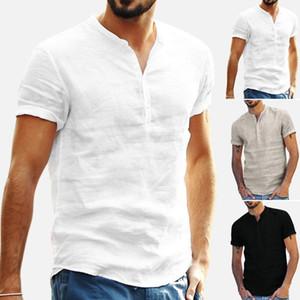 Neue Sommer-Mann-Hemd Baggy Cotton Linen feste kurze Hülse V-Ausschnitt Retro Top Bluse Street camisas hombre