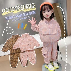 ropa de niños de diseño de bolsillo 2020 de primavera y otoño nuevos muchachos juego de los guardapolvos deportivo de dos piezas traje de estilo de Corea del traje de los niños