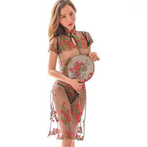 Slim Mesh Pyjamas Underwear Womens Embroidery Cheongsam Sexy Lingerie Women See Though Rose High Split Sleepwears Woman