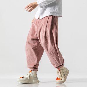 Casual Hommes Pantalons solide Couleur Harem Mode Joker Baggy Pantalon large rue Joggers Mens Corduroy Sweatpants Plus Size M-5XL