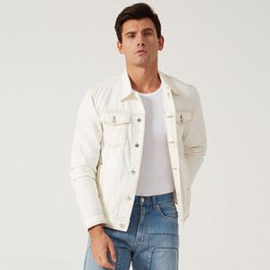 Online moda ince basit yakışıklı ceket bfwind ceket 19 yeni beyaz gündelik kot erkek ins