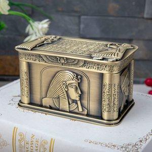 Egito antigo faraó Jewelry Organizer Box Home Decor de Metal Arte Artesanato Colar Anéis presente armazenamento caso Bead recipientes de armazenamento CX200716