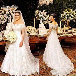 2021 Vintage dentelle Un mariage ligne Robes longues manches de l'épaule Robe de mariée Novia Robes